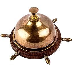 Antique Museum Antique Marine Art Décor Vintage Ship's Wheel Base Desk Table Brass Bell A1BB 01