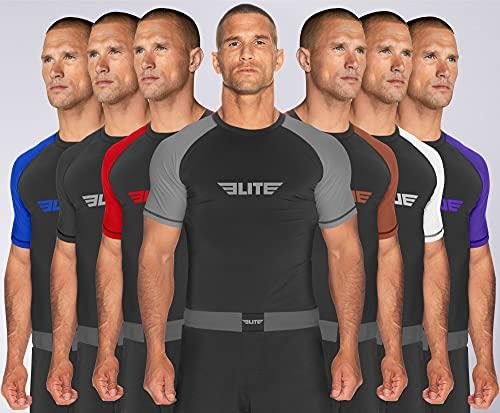 Elite Sports BJJ Jiu Jitsu Rash Guards, Men's BJJ, No GI, MMA Ranked Short Sleeve Compression Base Layer Rash Guard (Gray, XX-Large)