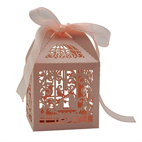 KEIVA 70 Pack White Love Birds Laser Cut Favor Candy Box Bomboniere Decorations Gift Boxes with Ribbons Bridal Shower Wedding Party Favors (Pink)