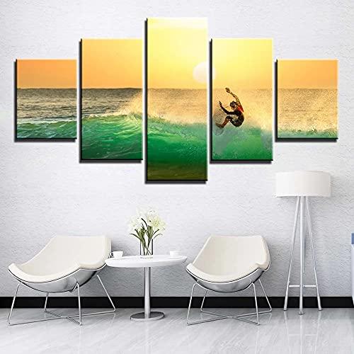 GUANGWEI 5 Quadri HD Su Tela Sunshine Surfer Soggiorno Camera Da Letto Creazione Decorazione Murales E Poster con Cornice 150 × 80 Cm
