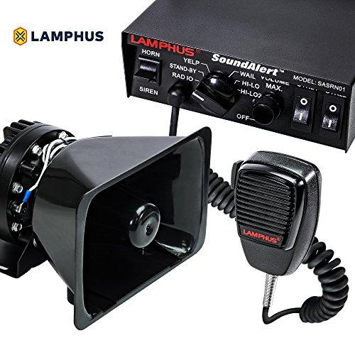 LAMPHUS SoundAlert 12V 100W Police Siren PA System [Bull Horn Speaker] [120-130dB] [Handheld Microphone] [Hands-Free] [2 x 20A Switches] Warning Emergency Siren for Vehicles Truck UTV ATV Car POV