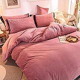 Ultra Soft Respirable Bedding Sets Twin Simple Cierre De Cremallera Invierno 1duvet Cubierta 1bed Hoja 2 Fundas De Almohada,Color Sólido Terciopelo Juego Ropa Cama 4 Piezas-Un King