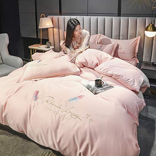 Funda De EdredóN De Cuna,Traje de cuatro piezas de Tencel, luz de verano de lujo de lujo de lujo individual, seda bordada, suave y transpirable, cubierta de cama, ropa de cama con funda de almohada d