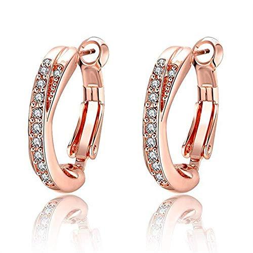 XINTIAN Stud Earrings 14k Rose Gold Female Earrings Fashion Jewelry Crystal Stud Earrings For Wome pendientes