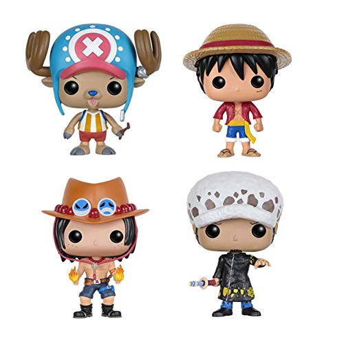 MNZBZ Anime One Piece Luffy & Chopper & Ace & Law Figure Vinyl Doll Collection Toys