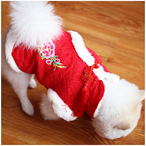 NACOCO Dog Tang Costume Blessing Pet Winter Coat Happy New Year Cheongsam Qipao Dresses Cat Peony Design Clothes for Schnauzer Teddy French Bulldog (Red Peony, S)