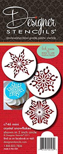 Designer sjablonen C746 mini kristal sneeuwvlokken 2 koekjessjablonen, beige/halftransparant