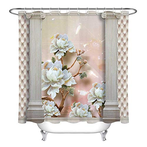 Árbol de Flores sobre la Arquitectura nórdica Cortina de Ducha Pantallas de baño Tela de poliéster Impermeable para decoración de bañera de Arte 180 * 200 cm