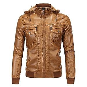 GOMY ライダースジャケット メンズ レザージャケット 倣羊革ジャン ブラウン 取り外せるフード付き 裏起毛 秋冬 コート アウター クラシックPUレザー 大きいサイズ