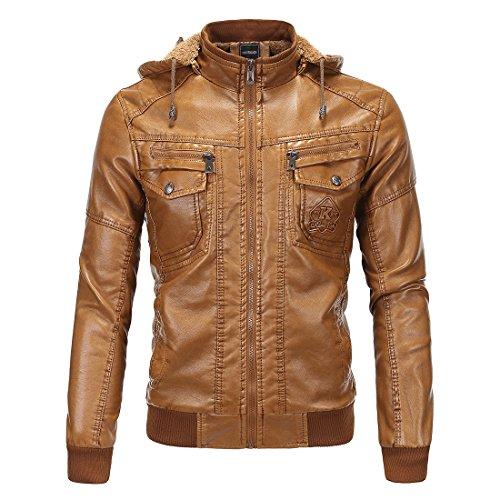 XSQR Herrenbekleidung Lederbekleidung Plus Samt Warm Bleiben Lederjacke Schaffell Mit Kapuze Mantel,Yellow,XXXL
