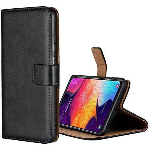 Aopan Samsung Galaxy A50 Hülle, Flip Echt Ledertasche Handyhülle Brieftasche Schutzhülle für Samsung Galaxy A50, Schwarz
