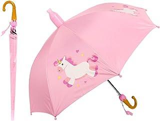 YTOPRO 子供用 長傘 軽量耐風 可愛いユニコーン柄 キッズ傘 梅雨対策 晴雨兼用 日光遮断 防水カバーとホイッスル付 防犯 8本骨 安心ストッパー設計 ワンタッチ 72cm*85cm