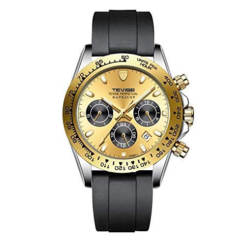 Relojes De Pulsera,Reloj Mecánico Automático Multifuncional De 6 Pines para Hombre, Reloj De Moda con Anillo De Oro Blanco Y Cara De Oro