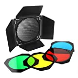 """Godox BD-04 Barn Door Barndoor with Honeycomb Grid and 4 Color Gel Filters (Red Yellow Blue Green) for 7"""" Standard Reflector"""