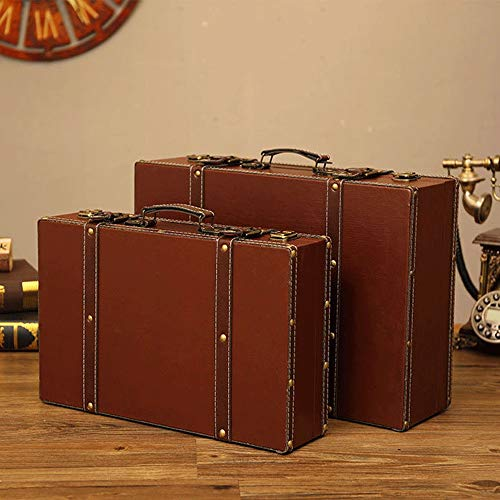 EXCLVEA Vintage Wooden Suitcase Set of 2 Antique Vintage Style Nesting Trunks Wooden Trunk Old-Fashioned for Shelf Home Decor Birthday Parties Wedding Decoration Displays Crafts for Home Decoration