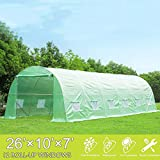 Mellcom 26' x 10' x 7' Greenhouse Large Gardening Plant Hot House Portable Walking in Tunnel Tent,Green