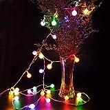Guirnalda de hadas LED luces de cadena de bolas a prueba de agua árbol de Navidad decoración del hogar cadena de luz batería Multicolor 6m60 leds