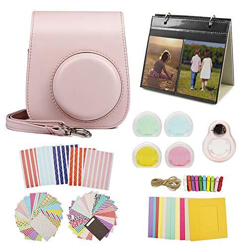 MUZIRI KINOKOO Mini 11 Accesorios Pack para Fujifilm Instax Mini 11 Funda protectora con 8 accesorios útiles para la cámara, 4 lentes de filtro de colores y lente selfie-rosa Item Title