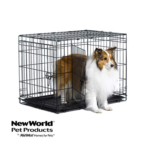 "New World 30"" Double Door Folding Metal Dog Crate, Includes Leak-Proof Plastic Tray; Dog Crate Measures 30L x 19W x 21H Inches, For Medium Dog Breeds"