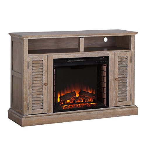 Southern Enterprises Antebellum Electric TV Stand fireplace, Brown