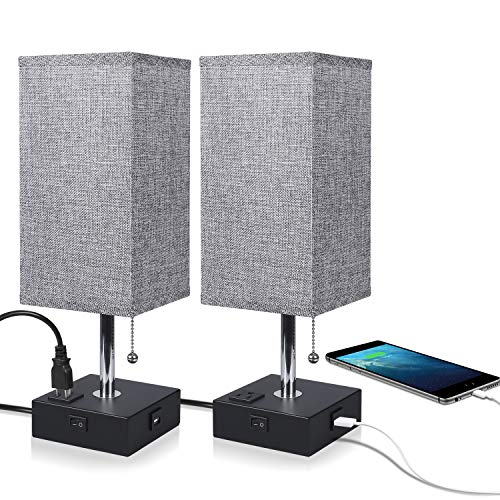 USB Bedside Table Lamp,Ambimall Bedroom Lamps for Nightstand with USB Charging Port and Power Outlet, Grey Fabric Shade Desk Lamp for Bedroom, Living Room-2PCS(Black Base)