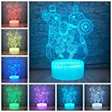 3D Visual Illusion LED Lamp Marvel Superhero Iron Man Spierman Captain America 7 Colors Changing Night Light for Child Christmas Cool Gift Kids Toys Home Atmosphere Decorative Bulbing (Marvel Heroes)