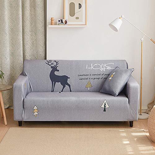 Protector de sofá con Estampado,Fundas de Sofá Elasticas de 1 2 3 4 Plazas,Poliéster Suave con Funda elástica,Antideslizante Protector Cubierta de Muebles,Ciervo Animal Gris