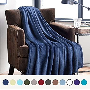 Bedsure Flannel Fleece Luxury Blanket Blue Navy Throw Lightweight Cozy Plush Microfiber Solid Blanket by