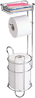 mDesign Freestanding Metal Wire Toilet Paper Roll Holder Stand and Dispenser with Storage..