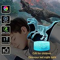 Led 3dナイトライト恐竜3dビジュアルランプusb錯視デスク照明7色変更3d照明器具用キッズ