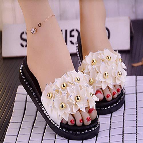 Verano Zapatillas de Baño Antideslizantes,Sandalias y zapatillas con plataforma de dibujos animados, zapatos de playa antideslizantes de tacón alto-C blanco _39,Mujeres Zapatos de Piscina Chanclas