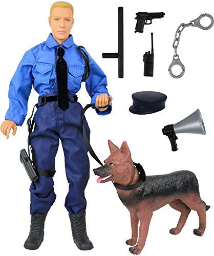 Click N' Play CNP30619 Police Force Unit, Officer with Dog 12' Action Figure Play Set with Accessories