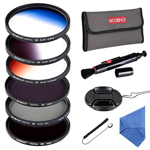 Beschoi - 77mm Filtro de Camára Lente, Packs de Filtros Fotográficos para Nikon Canon EOS DSLR Cámaras (11 PCS Incluye CPL ND4 ND8 + Ultra Delgado Graduado Naranja Azul Gris Filtros + Aceesorios)