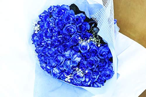 【生花花束】 青いバラ 「奇跡」「神の祝福」プロポーズ 誕生日 記念日 花束 青バラ花束 ベンデラ 薔薇 宅配送 お祝 ギフト プレゼント 送別会 退職祝いカスミ草、グリーン付き バラの花束 50本