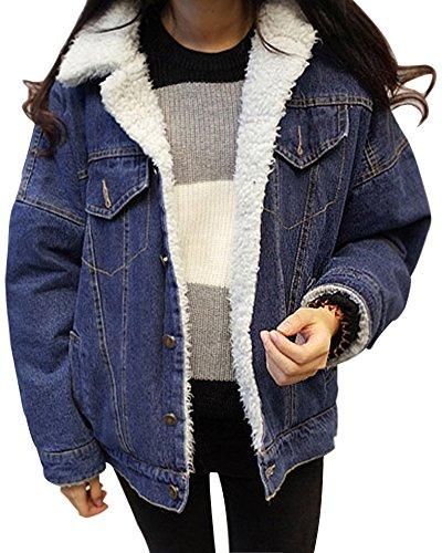 Minetom Damen Winter Plus Samt Jeansjacke Langarm Schlank Warm Wintermantel Winterjacke Plüsch Gefüttert Denim Jacke Mantel Outwear Blau DE 42