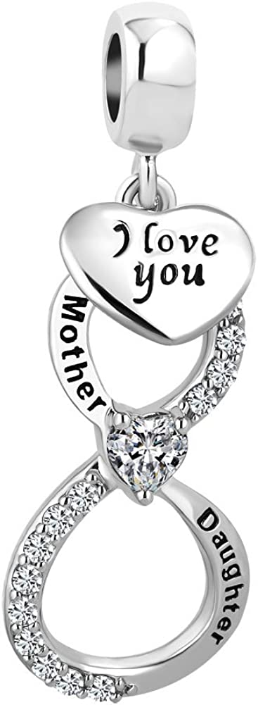LovelyCharms Mother Daughter I Love You Infinity Heart Charm Dangle Bead for European Bracelet
