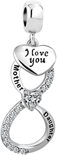 Red Heart Infinity Love Charms Mother Daughter Charms Mom I Love You Charm Beads for Bracelets