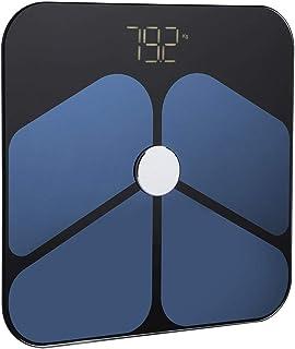 Huakii Báscula Digital, báscula de Grasa Corporal de Vidrio Templado, báscula portátil de análisis de Fitness, báscula Negra, Control de Salud de la Cocina para el hogar