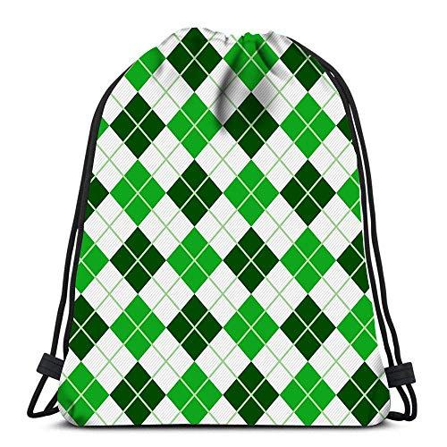 Lsjuee Backpack Drawstring Bag Green Argyle Harlequin