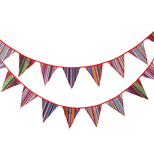 3.3M/10Feet Colorful Bunting Polyester Cloth Flag Banner Pennant Flag Garlands Fabric Triangle Flags Decoration for Birthday Parties,Ceremonies,Kitchen, Bedrooms