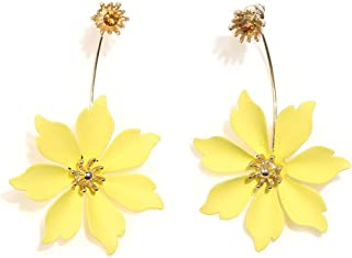 Boho Stud Earrings for Women - Chic Flower Statement Earrings with Gold Flower Bud, Great for Sister, Mom, Lover and Friends