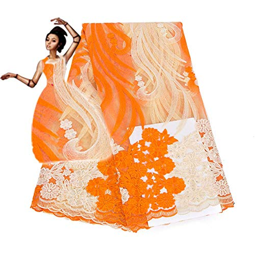 Elegant African French Lace Fabrics 5 Yards Nigerian Lace Fabric for Wedding Party Dresses,Orange