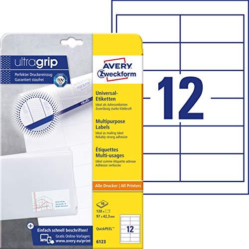 Avery Zweckform 6123 Blanco etiqueta de impresora - Etiquetas de impresora (Blanco,...