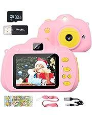 CHYBFU barnkamera, 6,4 tums display 1080P barn digitalkamera för flickor och pojkar 3-10 år, anti-drop barnkamera för födelsedag leksaker presenter med mjukt silikonfodral och 32 GB SD-kort