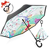 ZOMAKE Inverted Stockschirme, Innovative Schirme Double Layer, Winddicht Regenschirm, Freie Hand,Umgedrehter Regenschirm mit C Griff für Auto Outdoor (Fuchs)