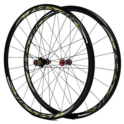 Rueda de bicicleta de carretera 700c C/V- Freno Llanta de aleación de doble pared Juego de ruedas de 30 mm para bicicleta QR 7-11S Buje de fibra de carbono Rodamiento sellado Rueda de bicicleta de