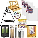 U.S. Art Supply 70-Piece Oil Painting Set with Aluminum Floor Easel, Wood Table...
