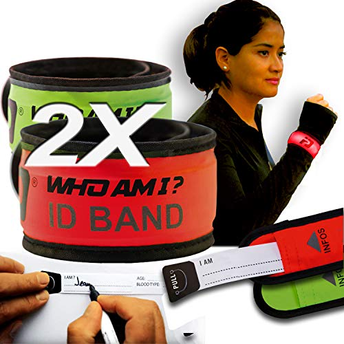 Who Am I - LED Slap Bracelet+ Identification- 2 PCS-ID Bracelet; Wrist ID; Blink or Glow; Sport ID, Safety and Visibility, Running Gear, Runners ID, Cycling ID Bracelet, LED Fits All ID, Green-Red