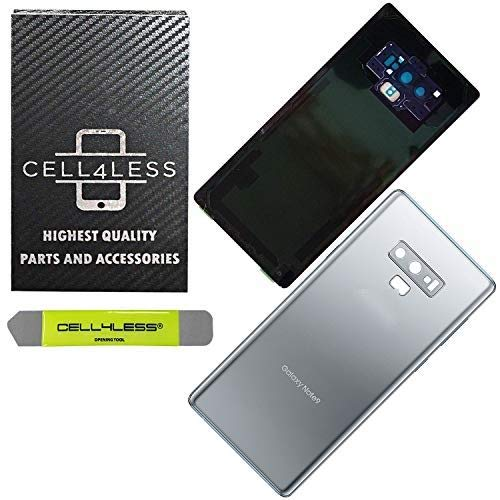 CELL4LESS Back Glass Compatible with Samsung Galaxy Note 9 OEM Replacement Battery Door Cover w/Installed Camera Lens, Adhesive and Removal Tool - Any Carrier - N960 (Silver)