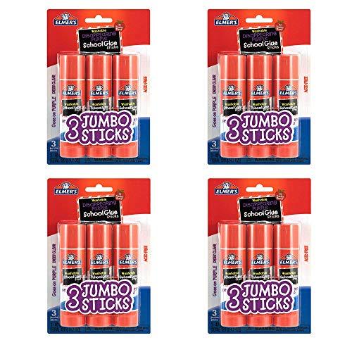 Elmers E579 Jumbo Disappearing Purple School Glue Stick (12 Count (1.4 oz))